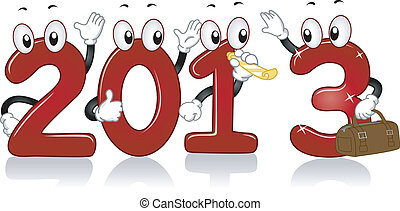 New Year 2013 Mascots - Illustration of Mascots Depicting...