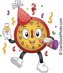 New Year Clock Mascot - Illustration of a Clock Mascot...