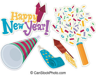 New Year Stickers - Illustration of New Year Related Icons...