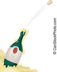 Champagne Cork Pop - Illustration of a bottle of champagne...