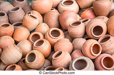 group of clay pots