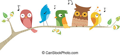 Pássaros, cantando