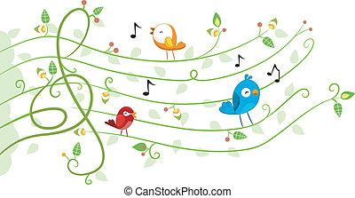 muzyka, projektować, Ptaszki