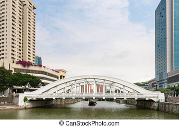 White Elgin Bridge and the Singapore River - Skyline of...