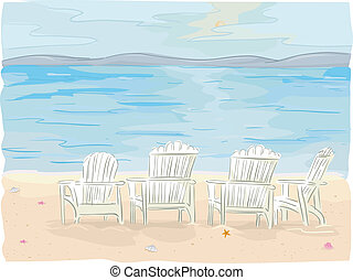 Beach Chairs - Illustration of Beach Chairs on Seaside