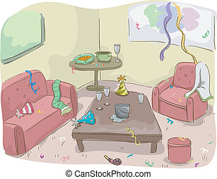 House After a Party - Illustration of House After a Party