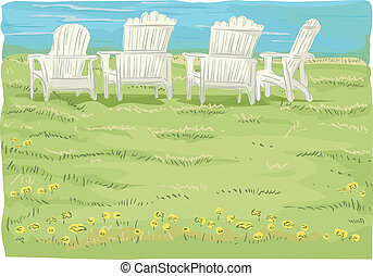 Beach Chairs in Grassfield - Illustration of Beach Chairs in...