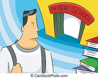 High School Man - Illustration of a Man Wearing a Backpack...