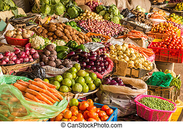 Fruit and Vegetable Market - Colorful fruits and vegetables...