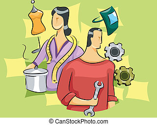 Skilled Workers - Illustration of a Man and a Woman...