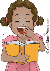 Girl Funny Book - Illustration of a Girl Laughing Out Loud...