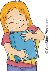 Book Lover Girl - Illustration of a Girl Hugging Books