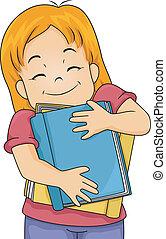 Book Lover Girl - Illustration of a Girl Hugging Books