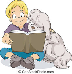 Boy Reading with His Dog - Illustration of a Boy Reading a...