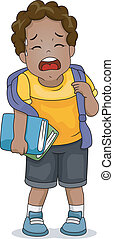 Exhausted Kid - Illustration of an Exhausted Boy Trying to...