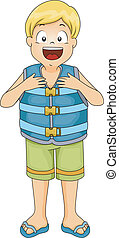 Life Vest Boy - Illustration of a Boy Wearing a Life Vest