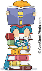 Reading Boy - Illustration of a Boy Reading a Book While...
