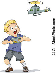 Remote-controlled Chopper Boy - Illustration of a Boy...