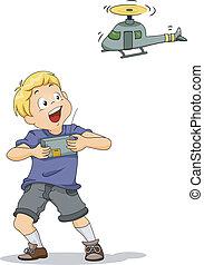 Remote-controlled Chopper Boy - Illustration of a Boy...