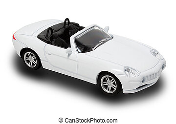 White Convertible - White Toy Convertible Car Isolated