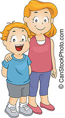 Brother and Sister - Illustration of a Young Boy Together...