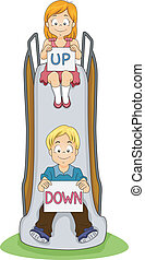 Up and Down Kids - Illustration of a Boy and a Girl in a...