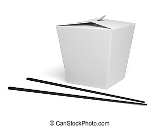 Chinese food box with white background. 3d rendered