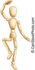 Wooden man dancing - An illustration of a dancing wooden...