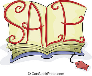 Book Sale - Illustration of an Open Book with the Word Sale...