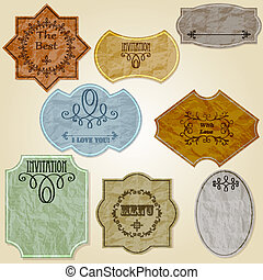Vector Retro Crumpled Papers - vector vintage labels of...