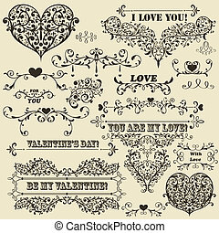 Vector Vintage Valentine's Design Elements - vector vintage...