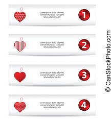 Set of four banners with red hearts, Valentine's Day design