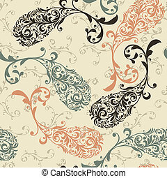 Vector Seamless Winter Pattern with Paisley Ornament -...