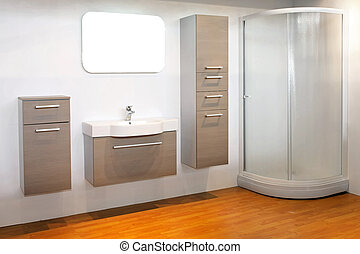 White bathroom - Big white bathroom with cornet shower room...