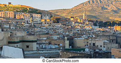 Fes roofs - View of satellite dishes over roofs in...
