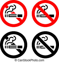 Signs set - No smoking - Smoking area set symbols, not...