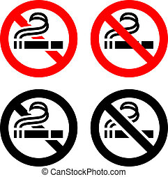 No smoking, symbols - Smoking area set symbols, not allowed...