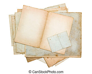 stack of old paper sheets and cards isolated on white...