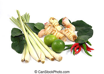 Thai food ingredient for Tom yum isolated on white...