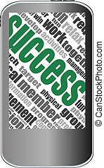 business success word cloud concept of touchscreen phone
