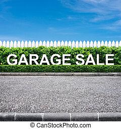 Garage sale sign on the road side