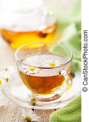 cup of herbal tea with camomile flowers