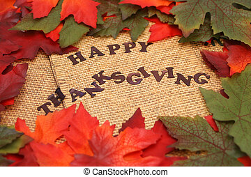 happy thanksgiving surrounded by orange and green autumn...