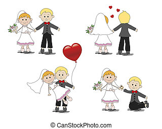 wedding - illustration of cartoon and funny wedding