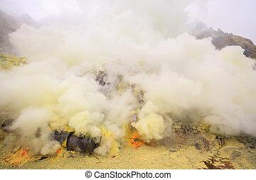 Sulfur mining plant - Landscape of Sulfur Mine at Khawa Ijen...