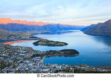Queenstown New Zealand - Aerial Cityscape View of Queenstown...