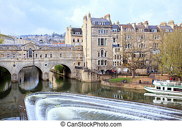 Bath Cityscape England UK - Pulteney Bridge River Avon Bath...