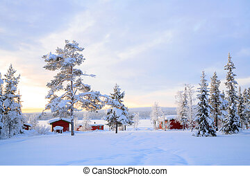 Lapland Winter landscape Sweden - Winter landscape with...