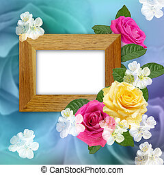 Wooden photo frame with roses