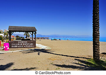 Pedregalejo Beach in Malaga, Spain - view of Pedregalejo...